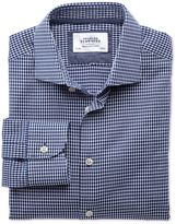 Charles Tyrwhitt Classic Fit Semi-Spread Collar Business Casual Oval Dobby Navy Blue and White Cotton Dress Casual Shirt Single Cuff Size 15.5/35
