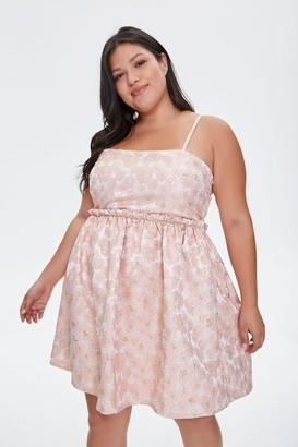 Forever 21 Plus Size Jacquard Rose Print Dress