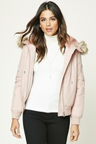 Forever 21 FOREVER 21+ Faux Fur-Lined Hooded Jacket