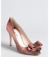 Miu Miu Pink Snake Embossed Leather Bow Peep Toe Pumps
