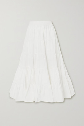 Ulla Johnson Sylvie Tiered Cotton-poplin Maxi Skirt - White