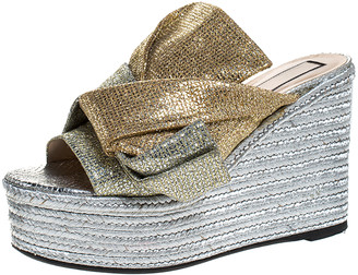 N°21 N21 Silver/Gold Glitter Fabric Raso Knot Espadrille Platform Wedge Sandals Size 39