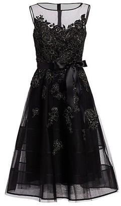 Teri Jon by Rickie Freeman Neoprene Metallic Applique Dress