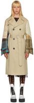 Junya Watanabe Beige Patchwork Sleeve Trench Coat