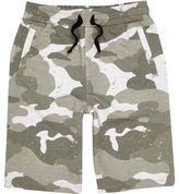 River Island Boys Khaki green camo print jersey shorts