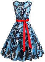 Wellwits Women's Print Sash Waist Tie Vintage Retro Dress S