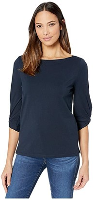 Lauren Ralph Lauren Jersey Boatneck Shirt (Lauren Navy) Women's Clothing