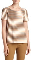 Lafayette 148 New York Women's Stripe Cotton Bateau Neck Tee