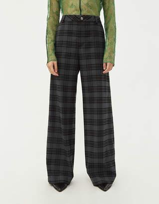 Hope Women's Ease Plaid Trouser in Grey Tartan, Size 34