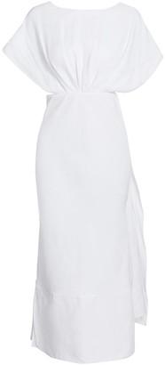 Miu Miu Short-Sleeve Open-Back Linen Dress