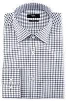 BOSS Slim-Fit Tattersall Dress Shirt, Navy/White