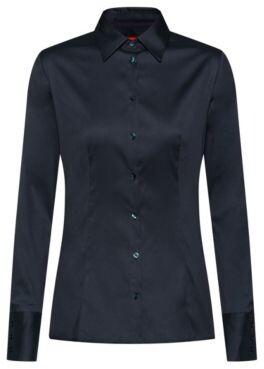 HUGO Slim-fit blouse in easy-iron poplin