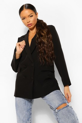 boohoo Petite Longline Double Breasted Blazer