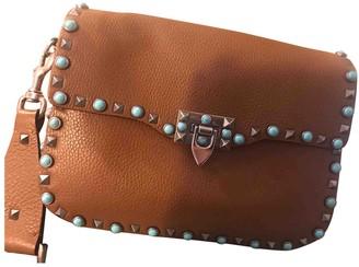 Valentino Guitar Rockstud Camel Leather Handbags