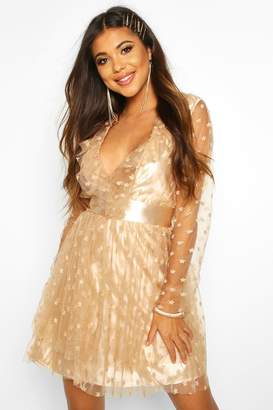 boohoo Star Embroided Mesh Skater Dress