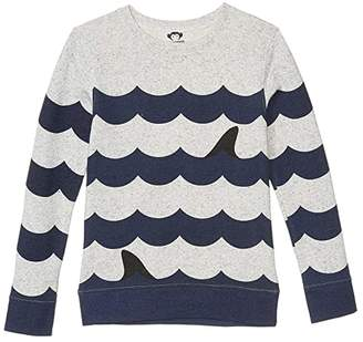 Appaman Kids Striped Crew Neck - Suns Out, Fins Out (Toddler/Little Kids/Big Kids) (Speckled Cloud Heather) Boy's Clothing