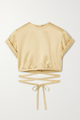 Orseund Iris Le Club Cropped Satin Top - Beige