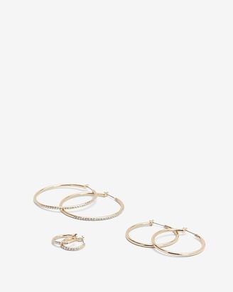 Express Set Of 3 Pave Hoop Earrings