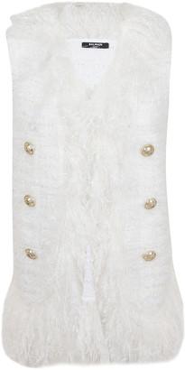 Balmain 6 Btn Fringed Tweed Vest