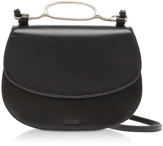 Jil Sander Small Black L-shiny Lux Calf Leather Handlebar Crossbody Bag