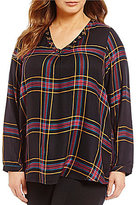 Intro Plus Studded V-Neck Long Sleeve Plaid Peasant Top