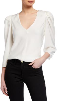 Frame Shirred V-Neck 3/4-Sleeve Top