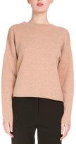Proenza Schouler Long-Sleeve Open-Back Sweater, Camel/Off White