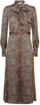 Equipment Calanne Leopard Print Midi Dress