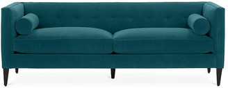 One Kings Lane Georgina Tufted Sofa - Peacock Crypton - frame, chocolate; upholstery, peacock