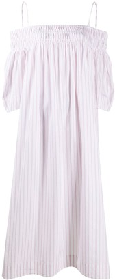 Ganni Stripe Print Off-Shoulder Dress
