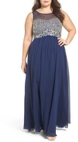 Decode 1.8 Plus Size Women's Beaded Illusion Bodice A-Line Gown
