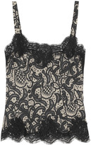 Dolce & Gabbana Lace-trimmed printed silk-blend camisole