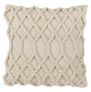 """Saro Lifestyle Diamond Weave Wool Blend Pillow - Cover Only, 18"""" x 18"""""""