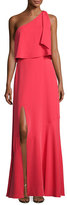 Halston One-Shoulder Crepe Popover Gown, Poppy Red