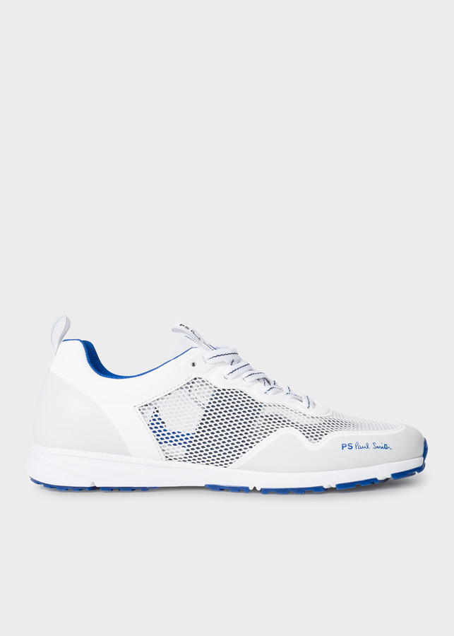 Paul Smith Men's White and Blue 'Samui' Sneakers