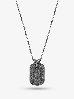 Michael Kors Black Rhodium-Plated Sterling Silver Pave Dog Tag Necklace
