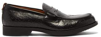 Burberry Emile Embossed Leather Penny Loafers - Mens - Black