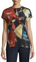 Lafayette 148 New York Zane Short-Sleeve Painterly Silk Blouse, Ink Multi