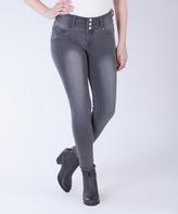 Amethyst Jeans Gray Triple-Button Jeggings - Plus