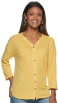 Sonoma Goods For Life Women's SONOMA Goods for Life 3/4-Sleeve Button Down Top