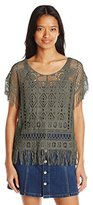 My Michelle Juniors Sheer Crochet Poncho Top with Fringe Detail