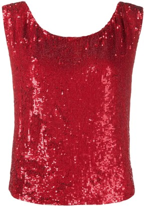 P.A.R.O.S.H. Sequin Embellished Sleeveless Top