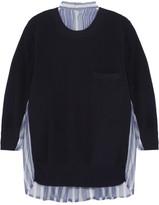 Sacai Cotton And Striped Silk-organza Sweater - Midnight blue