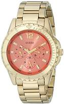 GUESS Women's U0590L1 Stainless Steel Gold-Tone Watch with Coral Multi-Function Dial, Day, Date & 24 Hour Int'l Time