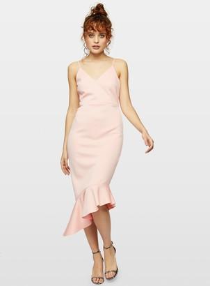 Miss Selfridge Pink Scuba Frill Hem Midi Dress
