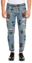 Dolce & Gabbana Military Embroidered Straight-Leg Jeans with Released Hem, Blue