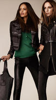 Burberry Wool Jacquard Leather Detail Biker Jacket