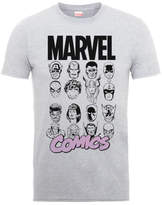 Marvel Comics Multi-Faces Men's Grey T-Shirt