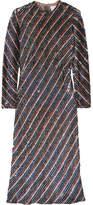 Ashish Striped Sequined Silk-georgette Dress - Platinum