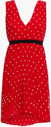 Maje Relina Pleated Embroidered Georgette Mini Dress